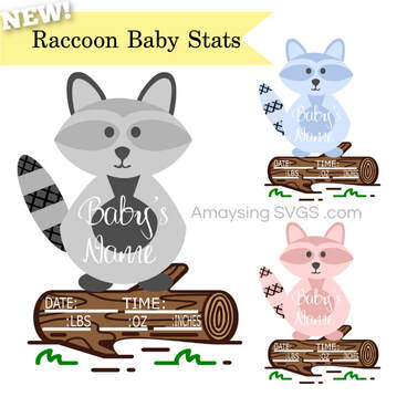 Raccoon Baby Stats svg - Amaysing SVGs
